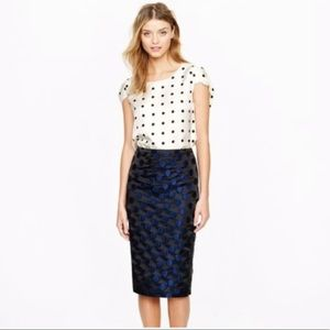 J. Crew size 4 No. 2 pencil skirt in dot brocade